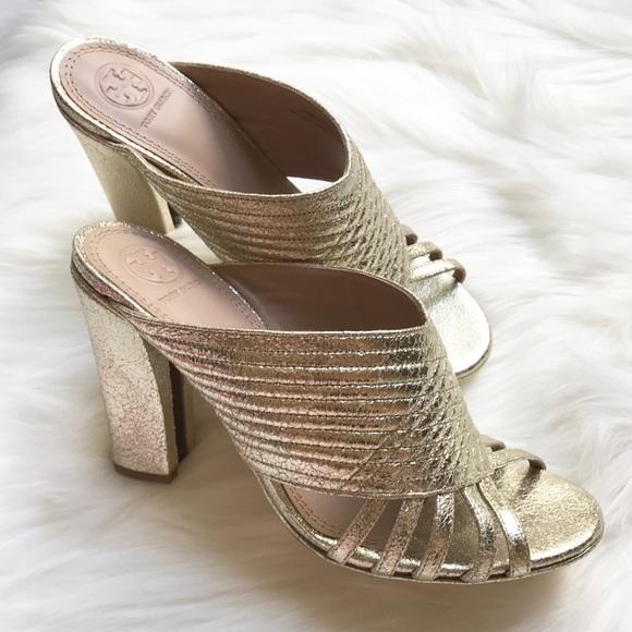 f20096d98 Tory Burch Shoes | Nib Brida Spark Gold Open Toe Mule | Poshmark